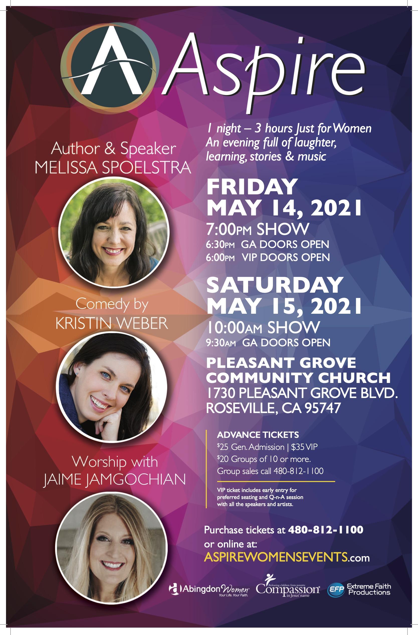ASPIRE FRI-SAT May 14-15 Roseville CA